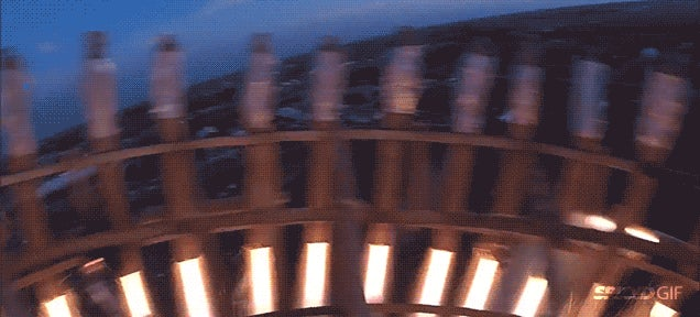 Camera mounted inside fireworks captures head spinning video