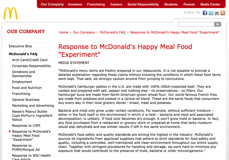 McDonald's Happy Meal Experiment Reply: Our Burgers Get Mold Too!