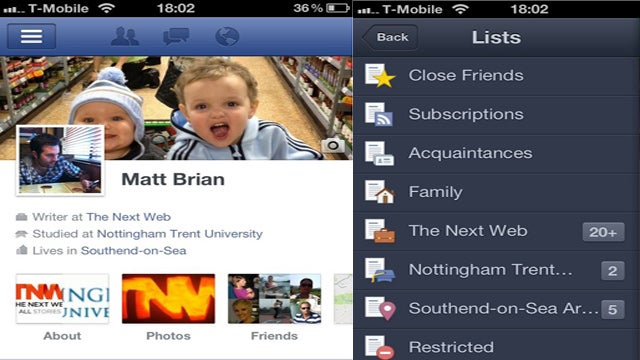 Facebook Updates iOS App, Adds Timelines and Friend Lists
