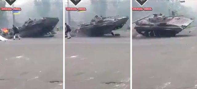 Ukrainian APC Driver Has No Time For Roadblock, Jumps It