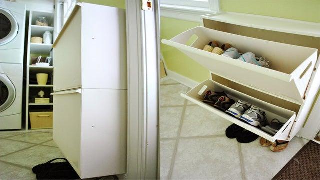 repurpose an ikea recycling bin to make a wall mounted shoe organizer. Black Bedroom Furniture Sets. Home Design Ideas