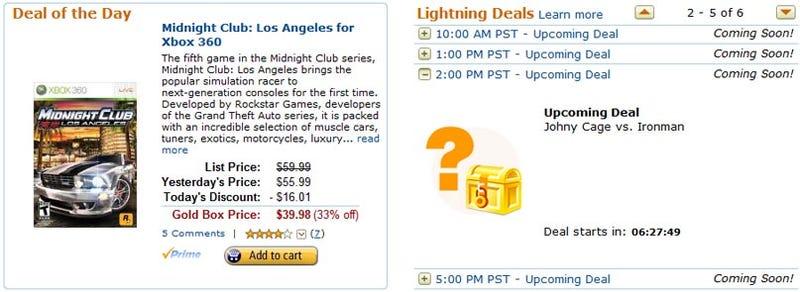 Amazon Gold Box Deals Pit Johnny Cage Vs. Iron Man