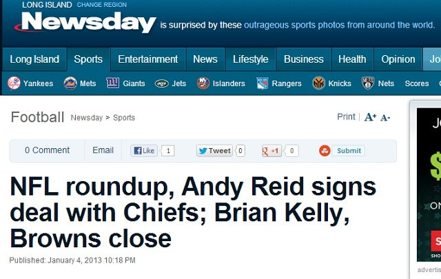 Newsday, Like Twitter Users, Simply Cannot Tell Brian Kelly And Chip Kelly Apart