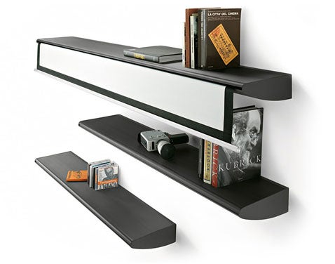 Home Theater Screen Disguised as a Bookshelf