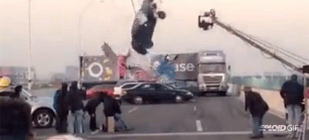 Spectacular failed car stunt almost kills film crew
