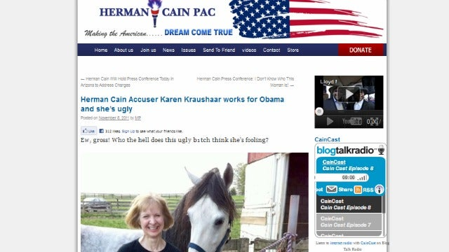 Herman Cain-Supporting Website Calls Accusers 'Ugly B1tch,' 'Fat Bimbo'