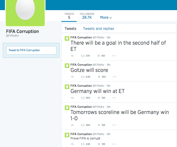 "The ""FIFA Corruption"" Twitter Account Is Fake, Of Course"