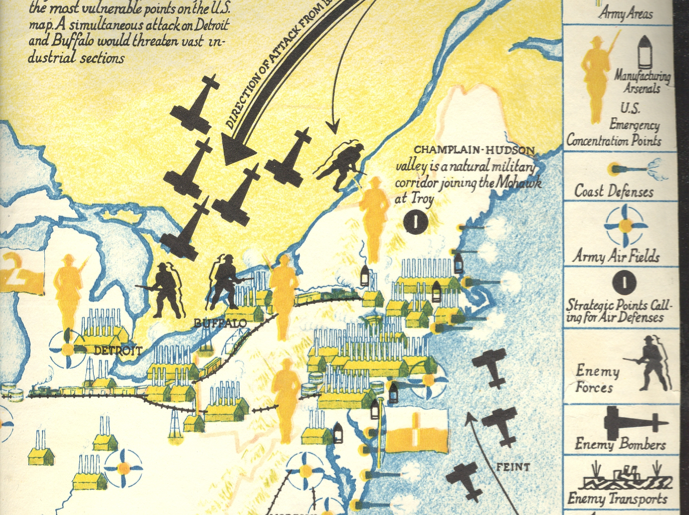 A 1935 map of the never-was invasion of America