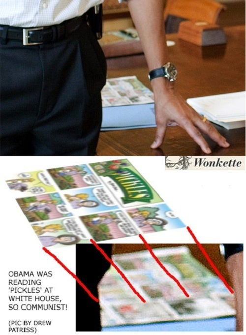 Shameless Obama Reading 'Pickles' in Oval Office