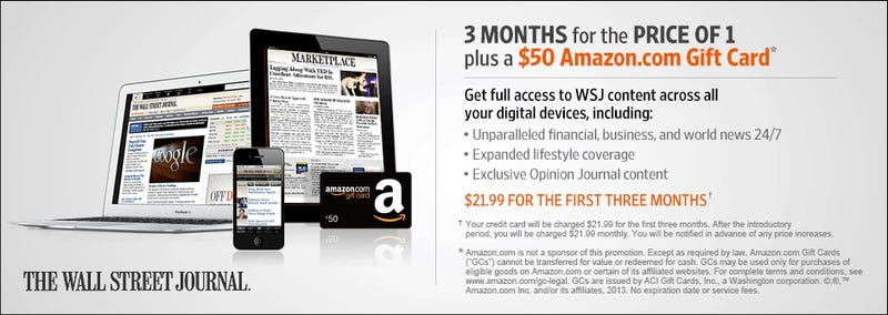 $50 In Free Amazon Dollars For Scaling the WSJ Paywall Is Your Deal of the Day
