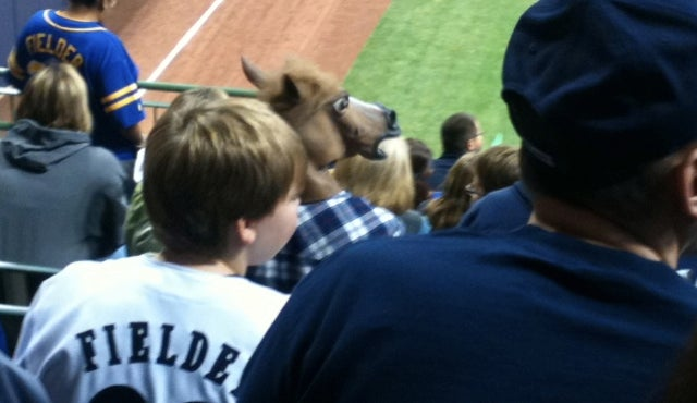 Forgive Us For Overlooking The Brewers Fan Drinking Through A Horse Mask Last Night