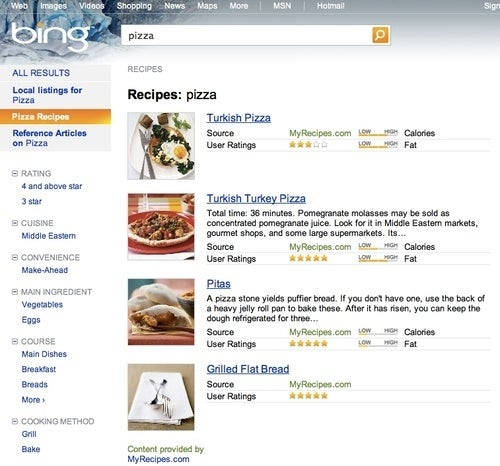 Bing Adds Food Recipe Search to Make You Drool