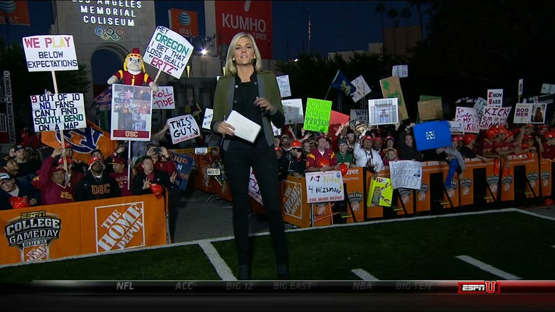 """Coach Lame Kitten"": Your Roundup Of The Best Signs Behind The College GameDay Crew"