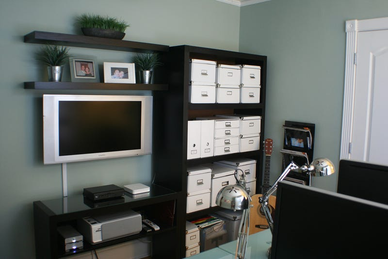 His, Hers, and the Media Center: A Compact Home Office