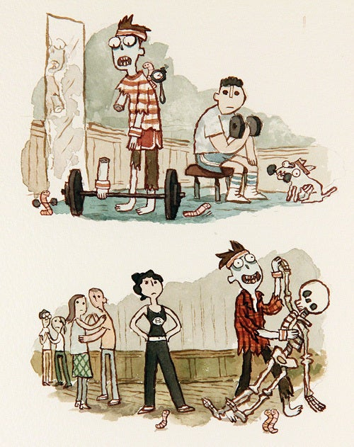 Oddly sweet illustrations of a zombie looking for love