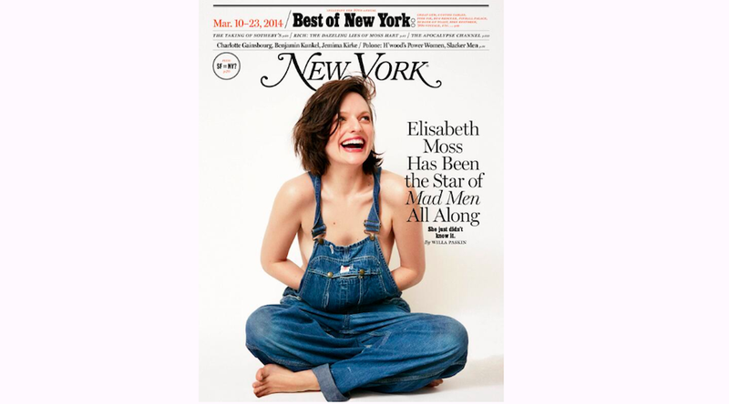 Peggy Olson Is Topless in Overalls on New York Mag Cover