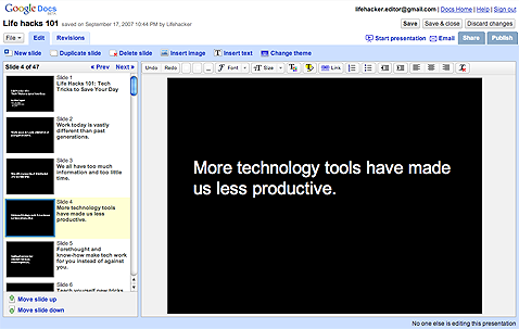 Google Docs Adds Presentations