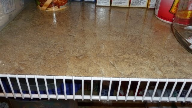 Cover Wire Shelves with Self-Adhesive Vinyl Floor Tiles
