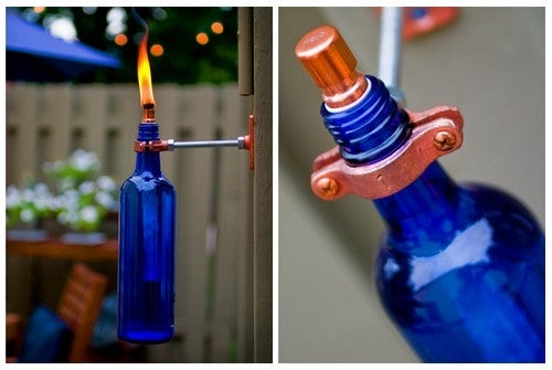 Recycle Wine Bottles into Stylish Outdoor Torches