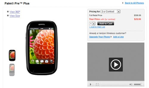 Palm Pre Plus Reduced To Quivering $30 By Verizon Wireless