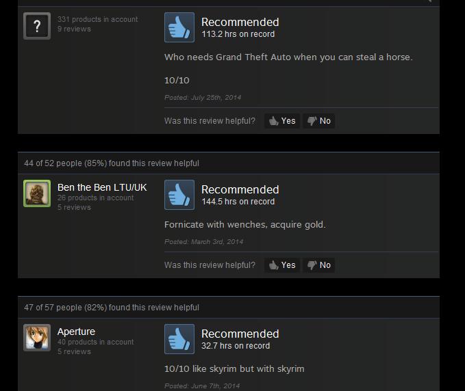 Skyrim, As Told By Steam Reviews