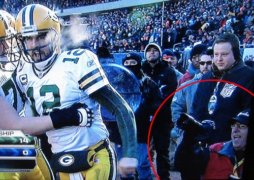 Aaron Rodgers Broke a Photographer's Monopod to Score a Touchdown