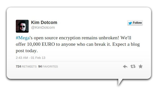 Kim Dotcom's Offering a Cash Reward If You Can Smash Mega's Encryption