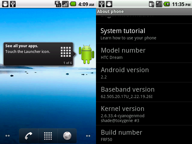 Test Build of Android 2.2 Froyo Running on T-Mobile G1 & myTouch 3G