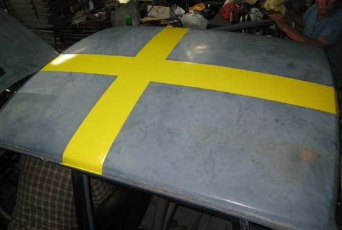 Black Metal V8olvo Now Equipped With Rebel Swedish Flag Roof