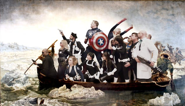 Instead Of George Washington, Captain America Crosses The Delaware