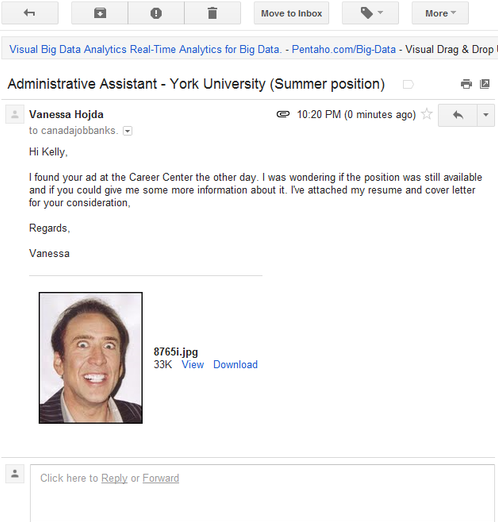 PSA: Accidentally Emailing a Nic Cage Picture Won't Help Your Job Search