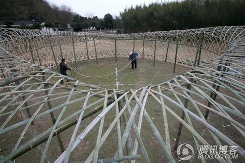 Chinese Farmers Build Birds Nest Stadium Out of Bamboo