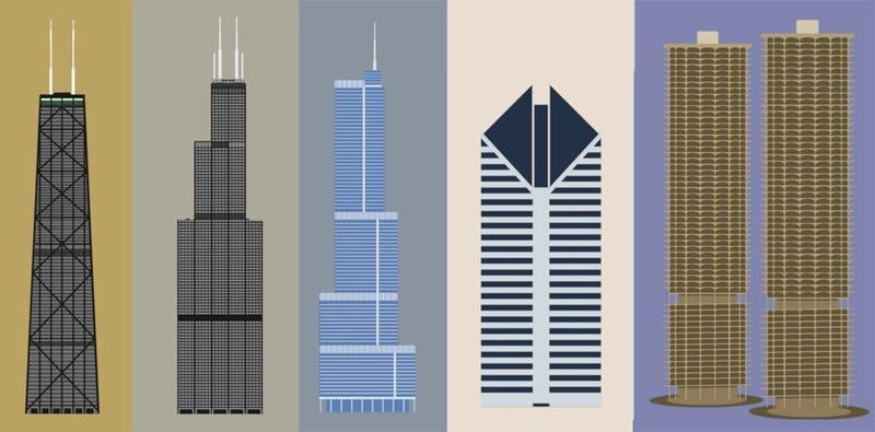 Cinco edificios de Chicago resumidos en una preciosa infografía