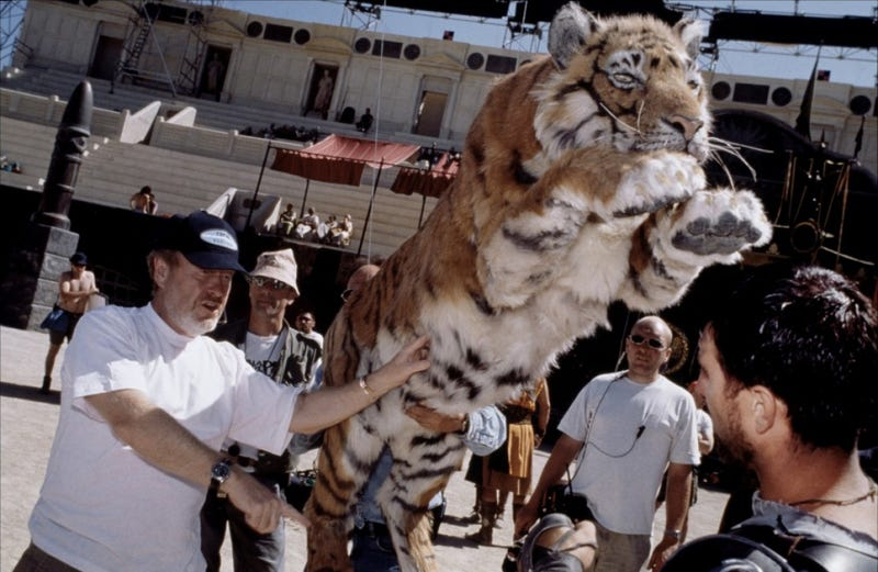 Ridley Scott throws a giant stuffed Tiger at Russell Crowe