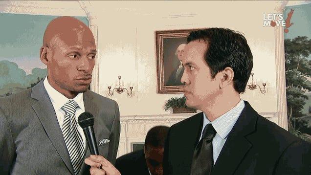 Michelle Obama Posterizes Dwyane Wade, Then Mean Mugs