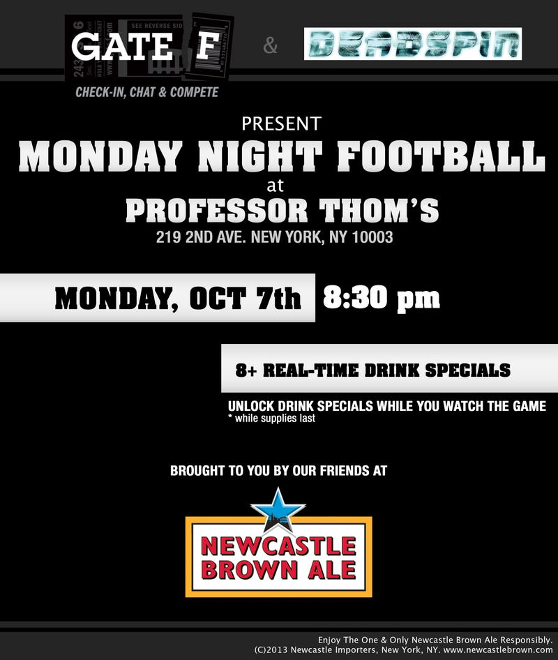 Come Join Deadspin and Gate F tonight for a Monday Night Football Party!