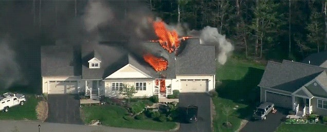 Holy crap, a house just exploded live on TV