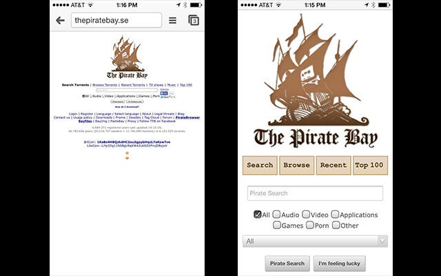 The Pirate Bay Is Now Mobile-Optimized, If That's Something You Want