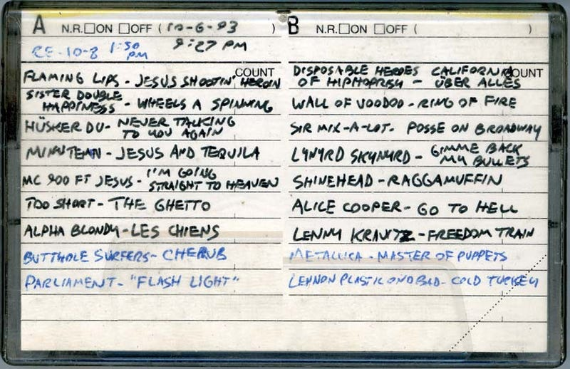 Meat Bees and Bad Craziness: Old Road-Trip Mix Tapes Resurrected For CA-to-CO Drive