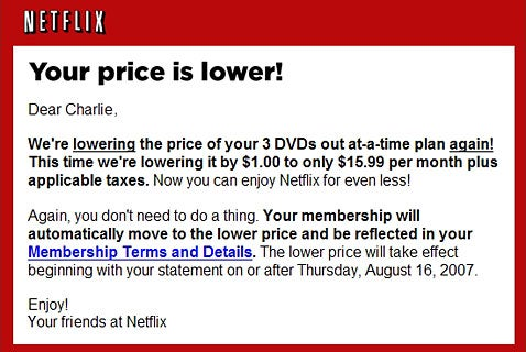 UPDATED: Netflix Lowers Prices for DVD Rentals by $1 ... Again