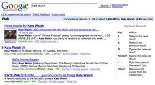 Navigate Google search results via keyboard shortcuts