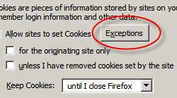 Selectively delete cookies in Firefox