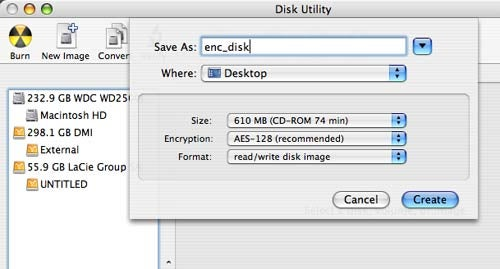 How to create a Mac encrypted disk image