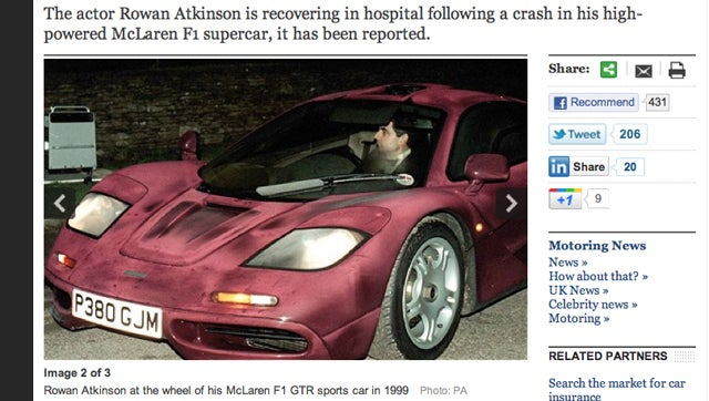 Mr. Bean Crashes Incredibly Expensive, Ugly Sports Car