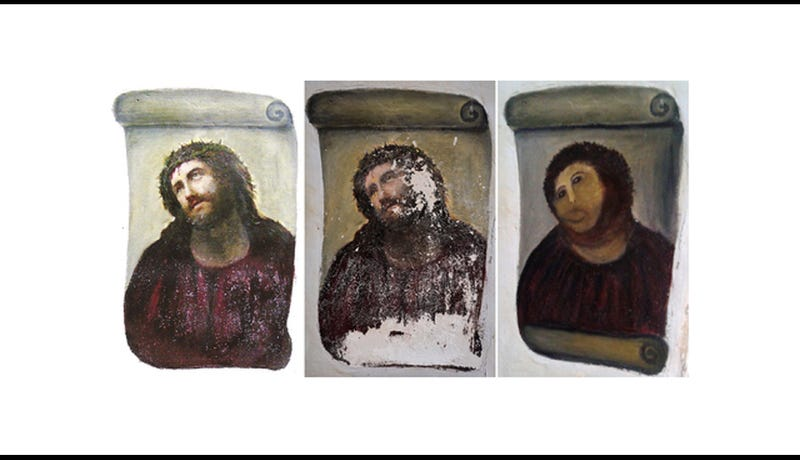 Lady Who Ruined/Fixed the Ecce Homo Fresco Is Now Selling Original Paintings on eBay