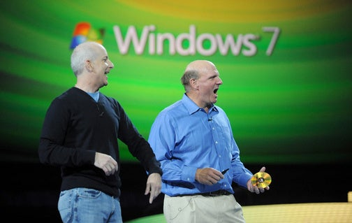 Caption Contest: Steve Ballmer Holding Microsoft's Sekrit Google Virus Windows 7 Final