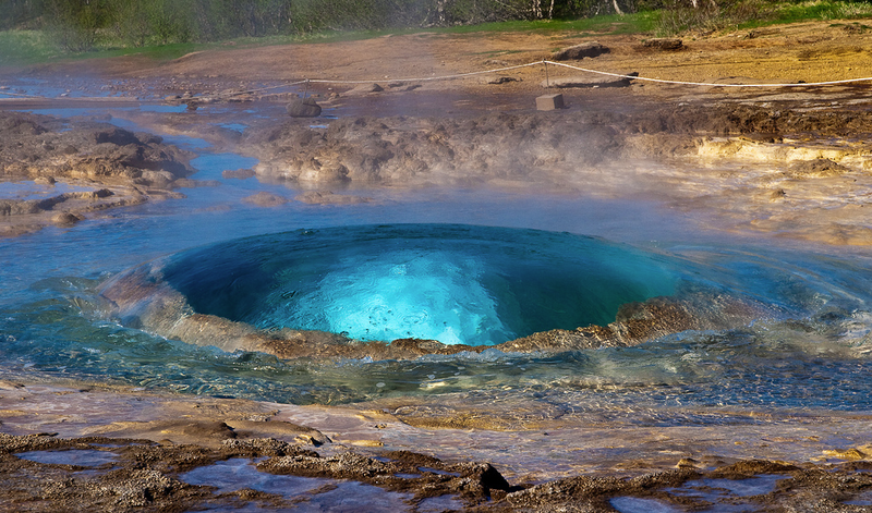 The Geyser Strokkur Captured One Second Before Eruption