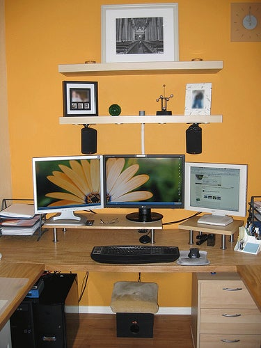 multi monitor home built desk for two. Black Bedroom Furniture Sets. Home Design Ideas
