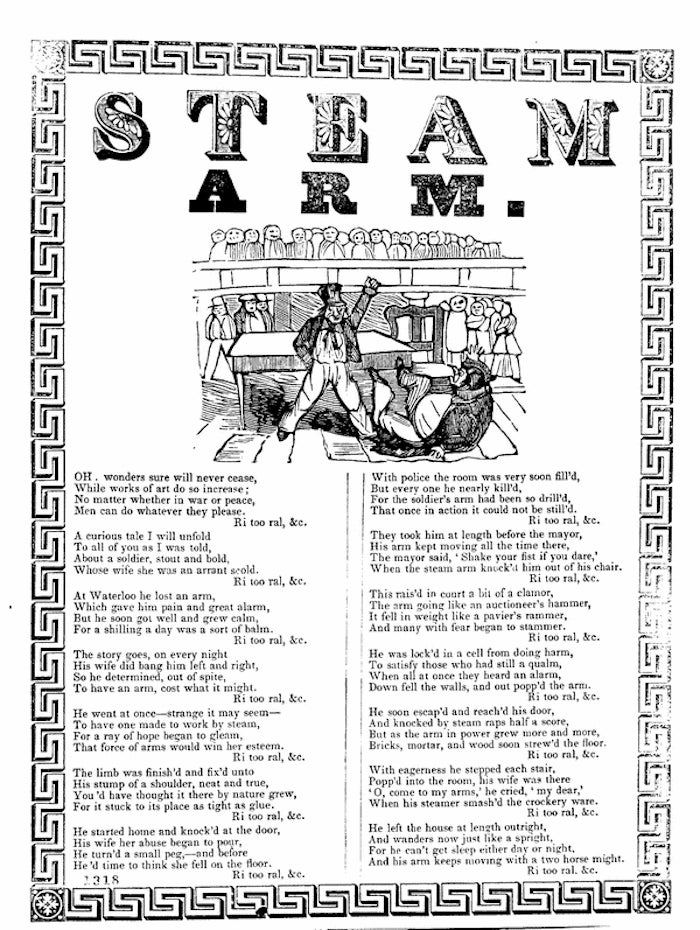 """The First Cyborg Horror Story: """"The Steam Arm"""" Ballad of 1834-35"""