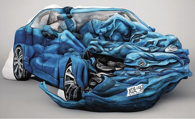 Who Wants to Drive a Crashed Car Made with Naked Bodypainted People?